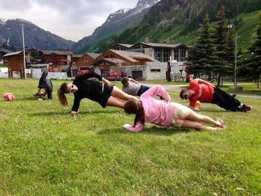 Séance de Gainage , Préparation Physique, Val d'Isère, Juin 2016